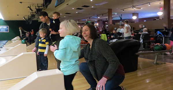 Families bowling
