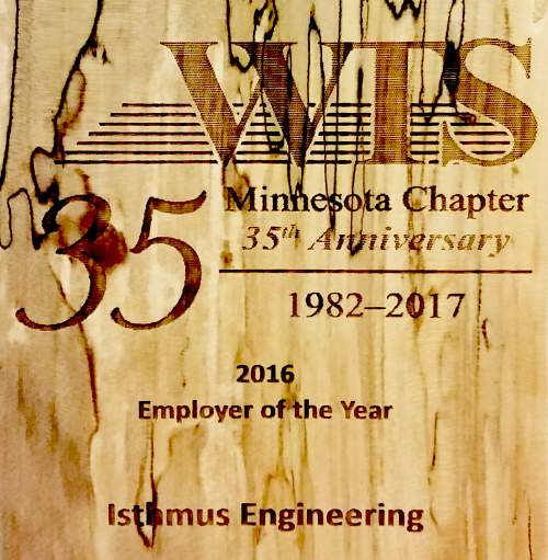 Isthmus accepts WTS Minnesota Employer of the Year Award